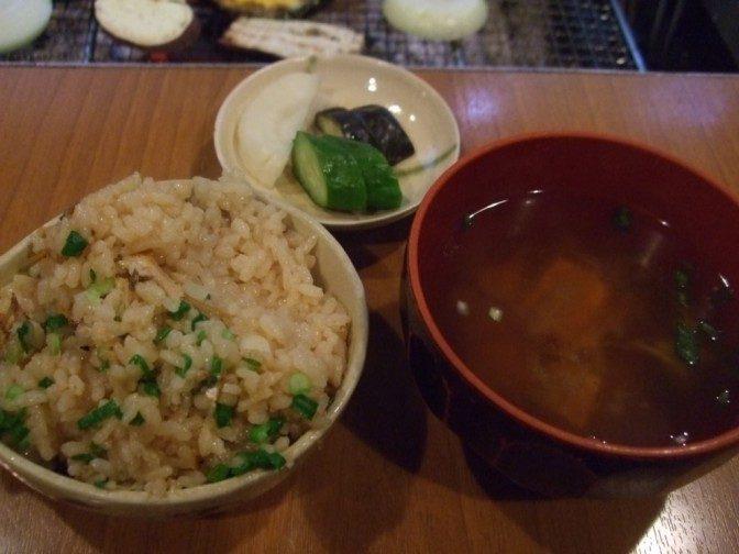 鮎ご飯とお味噌汁