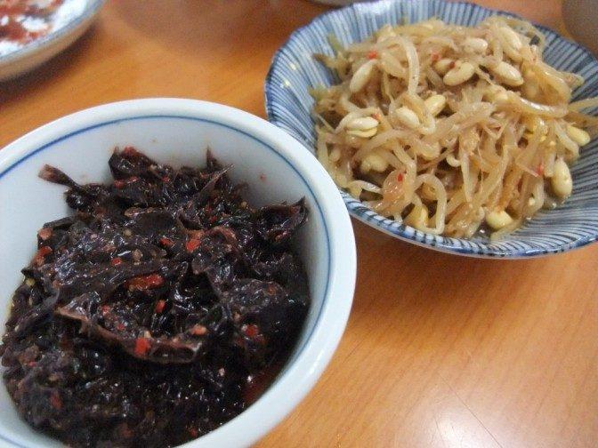 海苔の煮付け、大豆モヤシのナムル