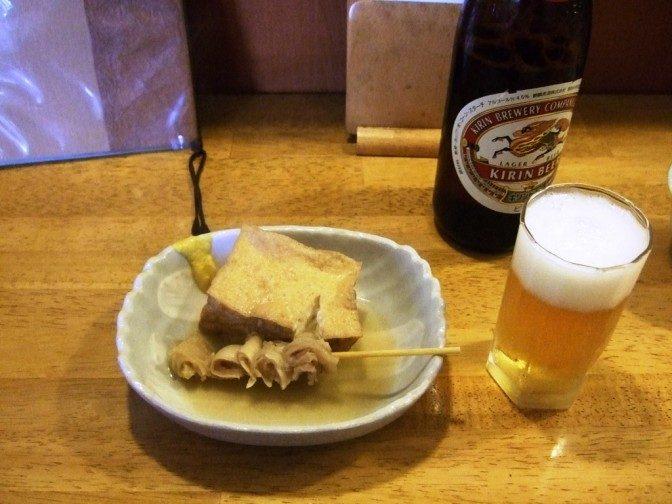 まずはビールとおでん