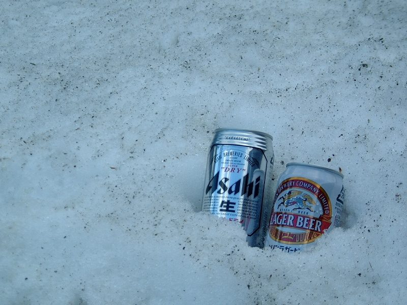 ビールを氷で冷やす