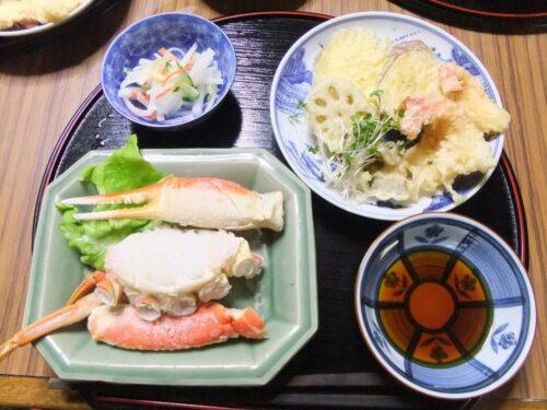 カニと天ぷら