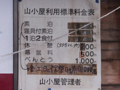 農鳥小屋の値段表