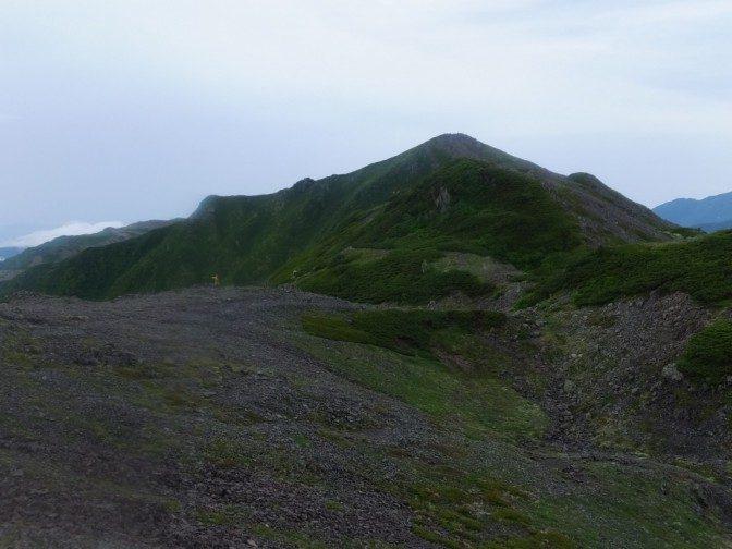 大門沢下降点と、広河内岳