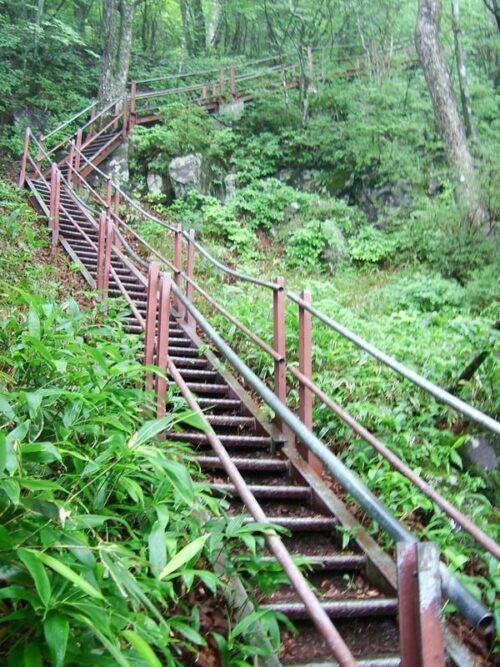 階段で一気に標高を稼ぐ