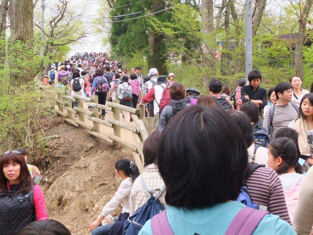 山頂近くの人混み