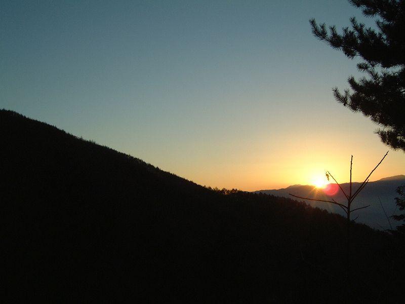 夕日を眺める
