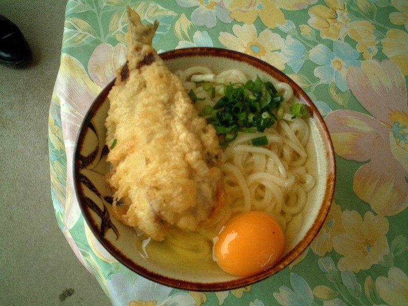 しょうゆ(大)+キス天ぷら+卵