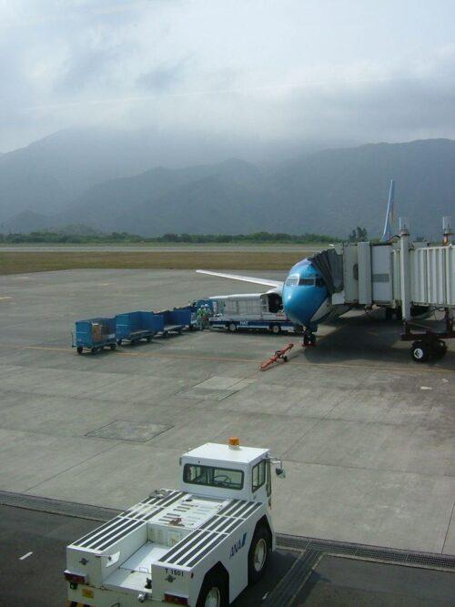 八丈島空港到着