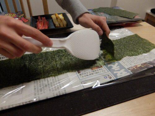 海苔を米粒で連結
