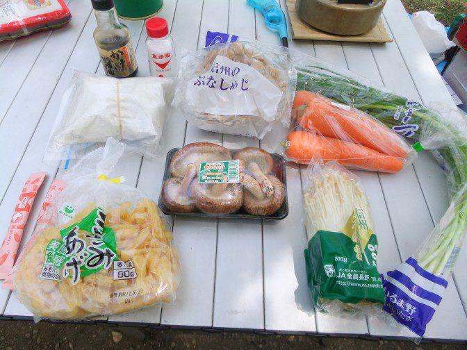 キノコと流し蕎麦の鍋、食材