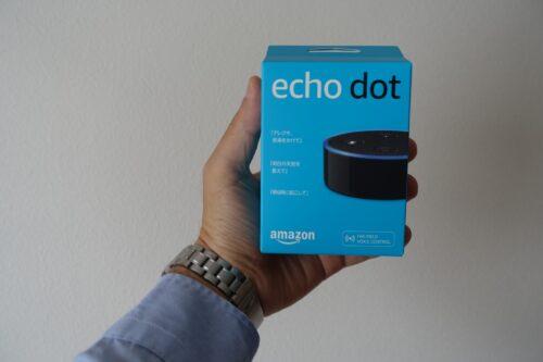 echo dotの箱はコンパクト