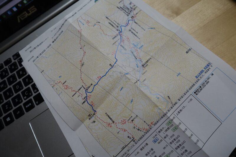 上高地周辺の地図