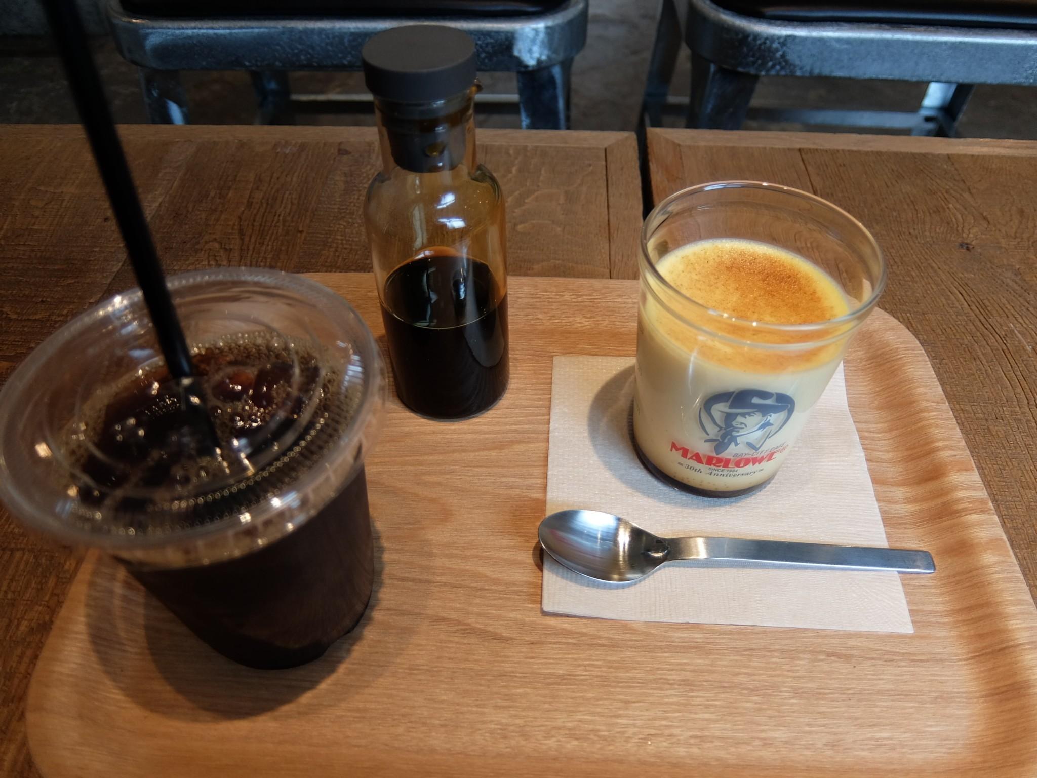マーロウのプリンと水出しコーヒー