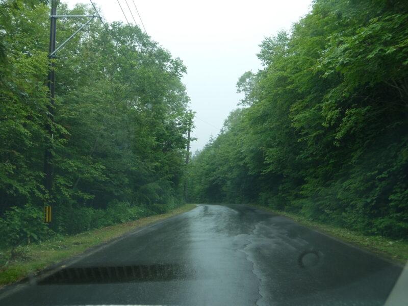 雨の中走る