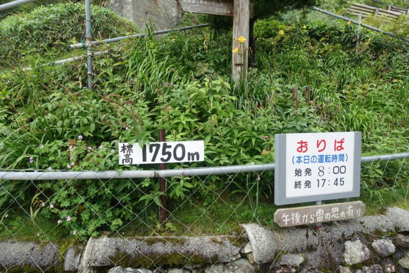 西島、標高1,750メートル