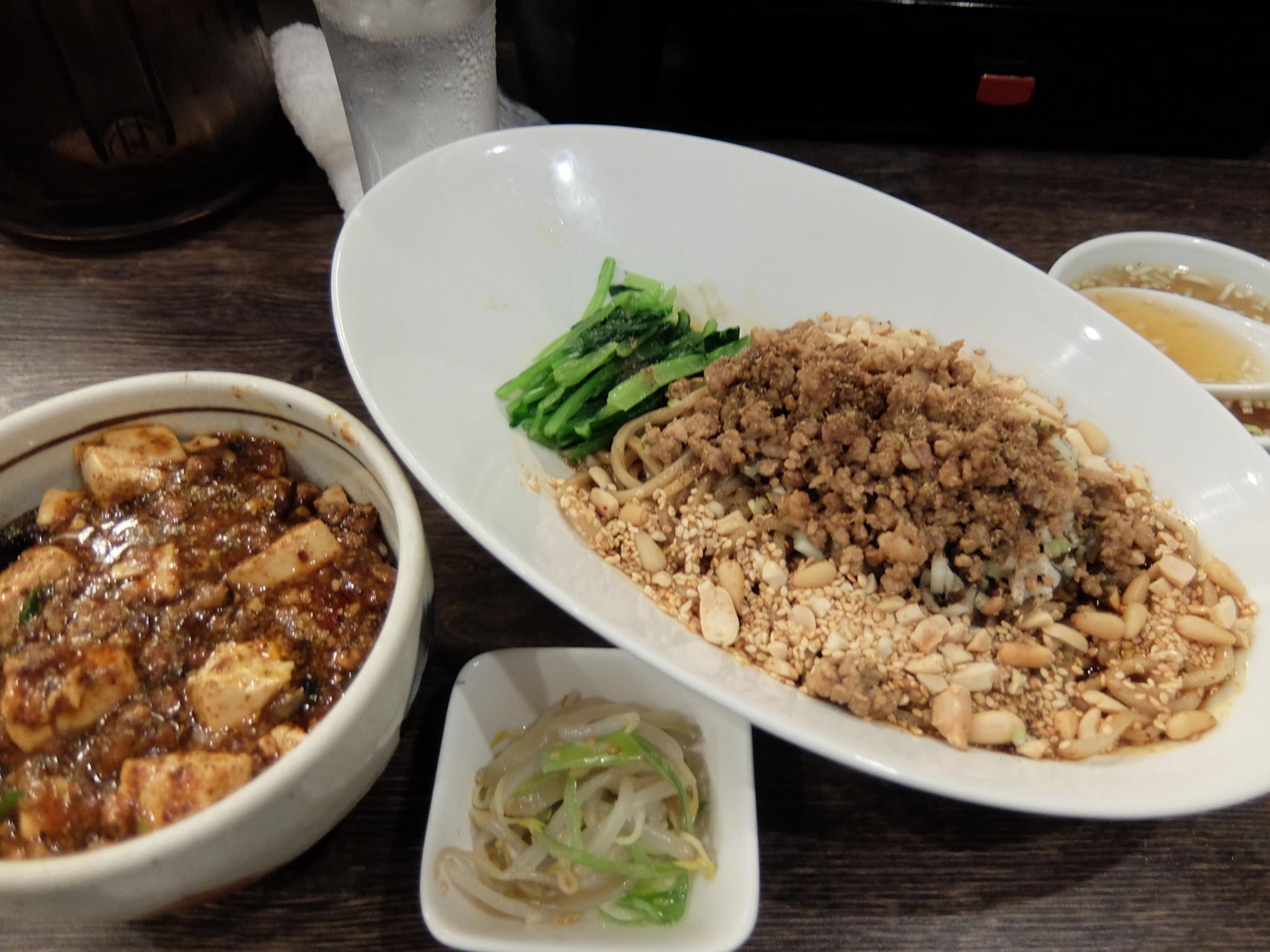 汁なし担担麺と小麻婆豆腐かけご飯セット