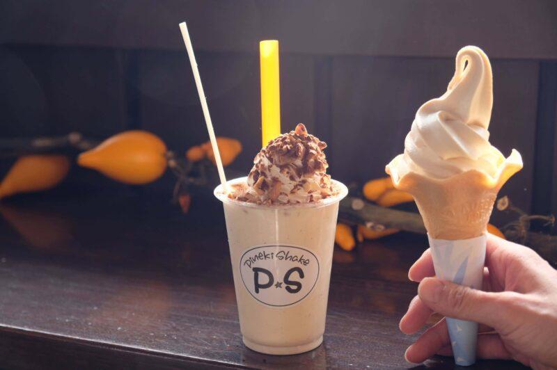 ピーナッツソフトクリームとシェイク